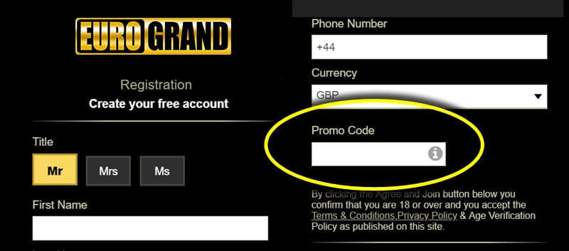 How to register at Eurogrand Casino